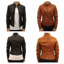 Leather Patternless College Coats & Jackets for Women