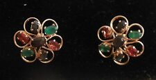 Varity of 7 faceted colored stones in gold pierced earrings. No marks. Sleeper?