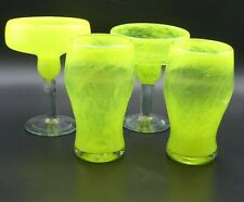 Mexican Margarita & Beer Glass Neon Yellow Hand blown