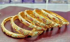 Gold Plated Bracelet Bangle Jewelry Women Bollywood 6 Bangles Set Fashion Indian