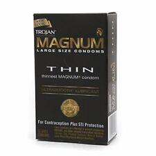 TROJAN MAGNUM Thin Lubricated Premium Latex Condoms Large Size 12 Each (2 pack)