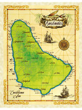 "19.5 x 25"" Barbados Vintage Look Map Poster Printed on Parchment Paper"