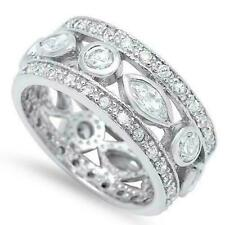 4ct Round Marquise Cut Diamond Elegant Eternity Wedding Band 14k White Gold Over