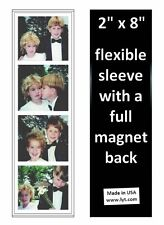 100 Magnetic Photo Booth Frames 2x8 Full Magnet Back, white/black, free ship