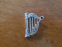 Beautiful silvertone rhinestone harp pin