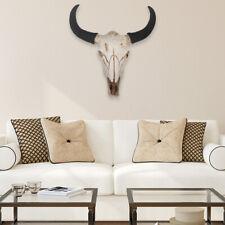 3D Resin Longhorn Cow Skull Head Wall Hanging Decor Animal Sculptur Props Faux