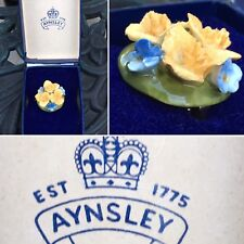 Fine Bone English Aynsley Vintage China Flower Pin Brooch New In Original Box
