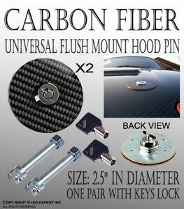 ICBEAMER Carbon Fiber Mount Bonnet Security Hood Pins Latch Kit Lock W/Keys S28