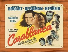 TIN SIGN 'Casablanca' Bergman Bogart Vintage Movie Art Poster