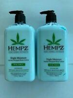 (LOT 2) Hempz TRIPLE MOISTURE Herbal Whipped Body Creme Lotion - 17 Oz (ea)