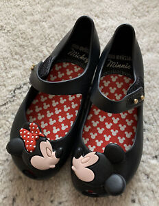 Mini Melissa Mickey & Minnie Kissing Toddler Girl Mary Janes Size 10 *NEW*