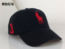 Polo Cap With Fine Embroidery Big Pony 3 Red Logo  Black Hat Baseball
