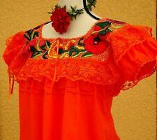 Mexican 5 de Mayo Blouse Embroidered lace Multicolor Floral Yucatan Mexico L/XL
