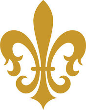 A Fleur De Lis sticker that is metallic gold.