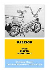 MM01 = Raleigh Wisp RM7 Moped Workshop Manual Book + Fault Finding&General Info