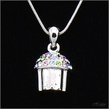 Cupcake Mini Baker Charm Cake Pendant Necklace Crystal Multicolor Silver Jewelry