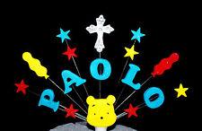 Personalizzato Per Battesimo Croce, bolla di WINNIE THE POOH CAKE TOPPER