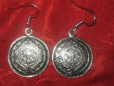 NEW 25MM SILVER TONE AZTEC MAYAN SUN CALENDAR MEXICO EARRINGS