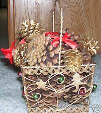 Gold holiday metal basket with decorations