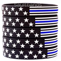 5 US Flag Stars & Stripes Wristbands Featuring Thin Blue Line USA Bracelet Bands