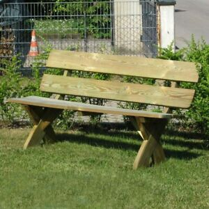 Gartenbank 3 Sitzer 150 cm Sitzbank rustikal aus Holz kesseldruckimprägniert