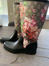 Gucci Gg Supreme Monogram Rainboots Blooms Rain Boots Flat Rubber Boots 36