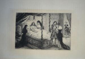 Jules HANRIOT (1853-1930) GRAVURE ORIGINALE MORT MOLIERE THEATRE COMEDIE 1880