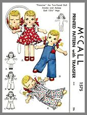 McCall Two Faced Awake & Asleep Girl Cloth Doll Fabric Sewing Pattern #1575