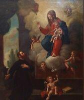 SAN IGNACIO DE LOYOLA ET LA VIERGE MARIE. HUILE SUR TOILE. ESPAGNE. SIÈCLE XVIII