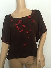 NWT $128 Anthropologie Moth Brown Floral Blouse Top Tunic Sweater Shirt Sz S