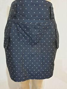 Ladakh Navy Blue Polka Dot Business Career Mini Skirt Size 12