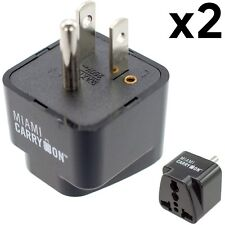2 x Miami CarryOn Universal Power Travel Adapter, UK/ EU/ AU/ CN to US -Grounded