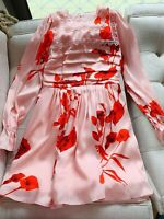 AUTH Ted Baker Fantasia Floral Print Puff Sleeve Pleated dress Pink Sz: 2,3