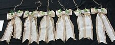"""9.5"""" Vintage Boho Lace Burlap & Lace Bows With 20' Streamers  (set of 6) Lot #3"""