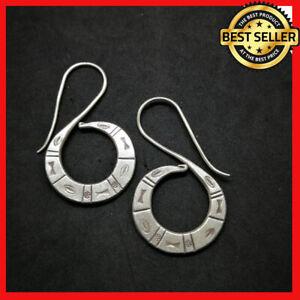 Fine 925 Silver Earrings Vintage Symbol Engraved Sticky spiral ER1104 AUCmon