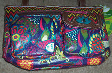 NWT Lily Bloom Eco-Shine Purple PEACOCK FEATHERS Birds Crossbody Purse Bag
