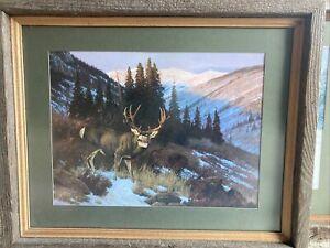 """Vintage 22"""" Custom Wood Framed Hayden Lambson 88 Winter Ritual Deer Print"""