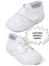 New Baby Boy White Shinny Leather shoes with Laces or Loop & Hook Size 3-8 Mexic
