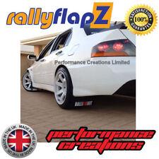 rallyflapZ Mitsubishi Evo 7 RS Mud Flaps & Fixings 4mm Black Ralliart -White R&O
