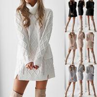 Femmes pull en hiver tricot col roulé manches longues chaud Pocket Mini robe