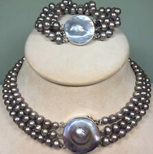 Sterling Silver Gray Peacock Pearls Mabe Blister Pearl Necklace And Bracelet Set
