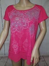 Womens Sz 8-10 Raspberry Stone Top Blouse SS Pullover Sheer Ruffled Bottom