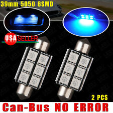 2X Blue Festoon 39MM CANBUS 5050 6SMD Interior LED License Plate Light Bulb 6418