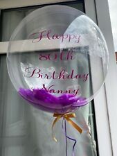 Helium Filled Personalised Confetti, Feather Bubble Balloon *Delivered In A Box*