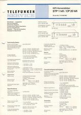 TELEFUNKEN - STP 1 STM 1 hifi - Service Information Schaltplan Diagrams - B6582