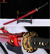Japanese Samurai Katana Sword Folded Steel Clay Tempered Red Blade Razor Sharp