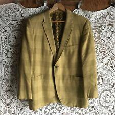 Vintage 1960s Men's Narrow Lapel Gold Plaid Suit Jacket Blazer 44