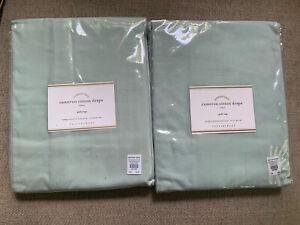 2 Pottery Barn Cameron Cotton Curtains Pole Drapes 50 x 96 Seaglass Blue Grn New