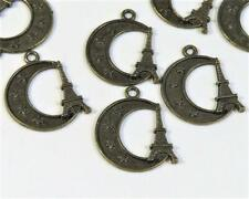 C422... 20 x ANTIQUED BRONZE PLATED CHARMS - EIFFEL TOWER & MOON