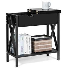 Bedroom Flip Top End Table Console Table Sofa Side W/Shelf Hidden Hinged Black